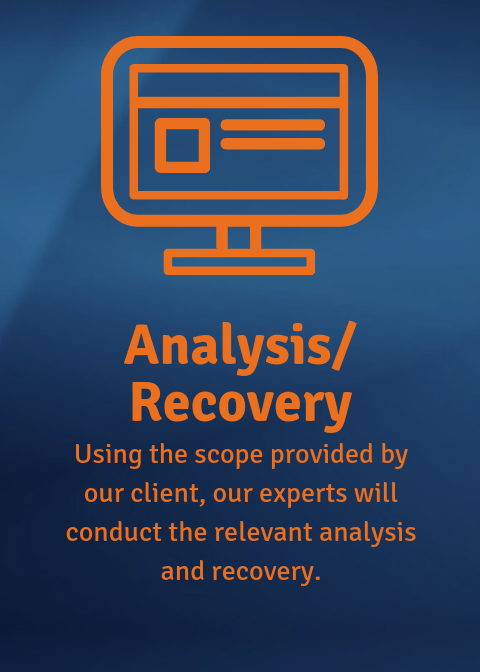 Analysis/Recovery: Our experts conduct analysis and recovery.